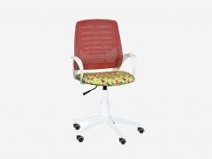 Кресло детское Ирис White сетка W-07 красная-Т52 бабочки на желтом