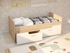 Кровать Умка с 2 ящиками дуб сонома-белый глянец