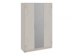 Шкаф комбинированный Мишель Ясень шимо-Бежевый фон глянец с рисунком